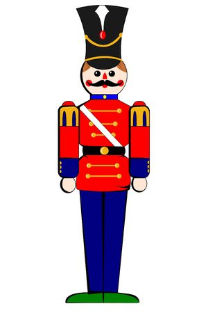 A Isolated toy wooden soldier on white Stock Photo