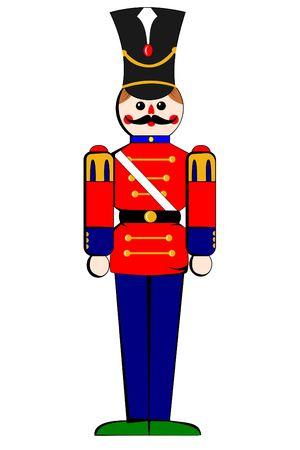 juguetes de madera: Un soldado de madera de juguete aislados en blanco