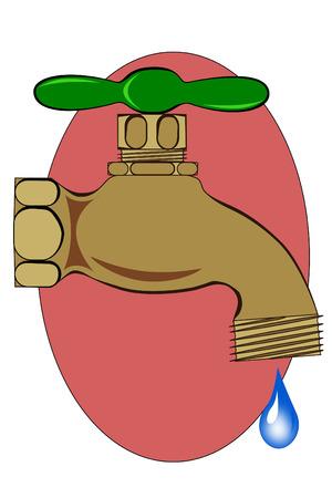 spigot: A Outdoor brass spigot with water droplet
