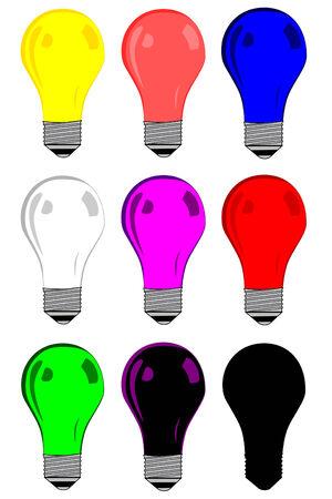 Assorted colors Light blub collection vector Ilustração