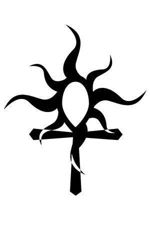 Tribal ankh with sun tattoo on white photo
