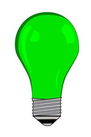 Green electric Light bulb Imagens
