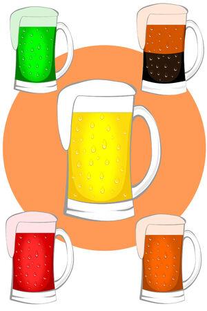 sweaty: Various types of beer in sweaty mugs