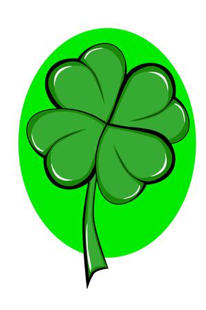 four leafed clover: Tr�bol de cuatro hojas Vectores
