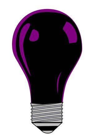 A Black Light bulb on white background Imagens