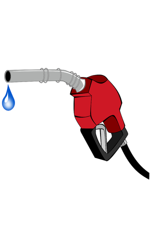 Red gas pump nozzle with water drop Illustration