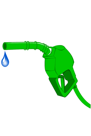 Green gas pump nozzle with dripping water Ilustrace