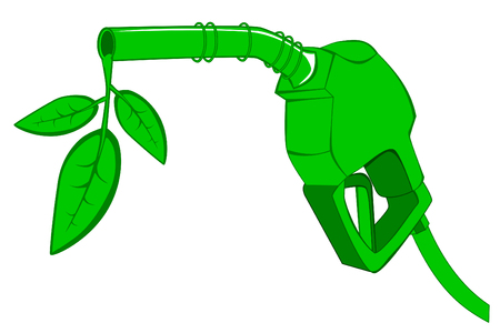 refueling: Green gas pump nozzle with leaves Illustration