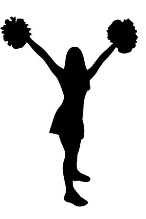 cheer: A Isolated cheerleader silhouette
