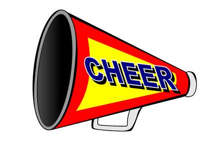 Een megafoon cheerleader op wit  Stock Illustratie