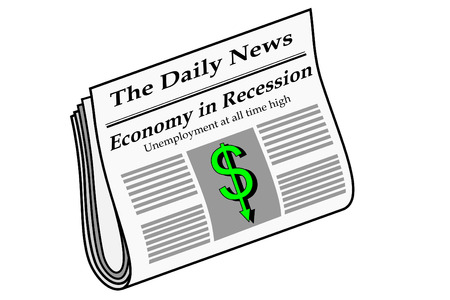 Newspaper with economy headlines