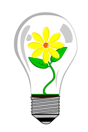 Greenhouse electric Light bulb with flower