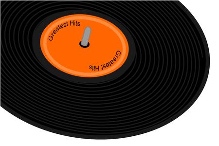Black record album with orange label Иллюстрация