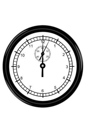 A Black wall clock on white Stok Fotoğraf - 4046046