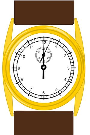 갈색 가죽 밴드가 달린 금 손목 시계
