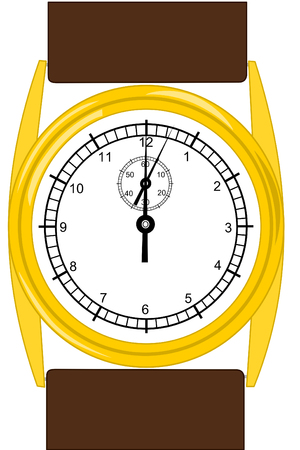 A Gold wristwatch with brown leather band Stok Fotoğraf - 4046047