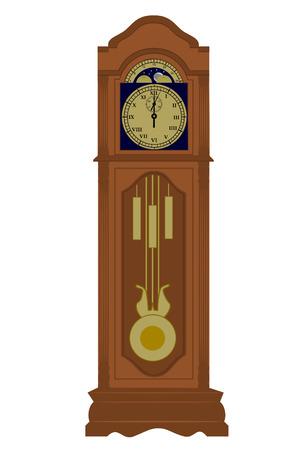 Grootvader klok met datum Vector Illustratie