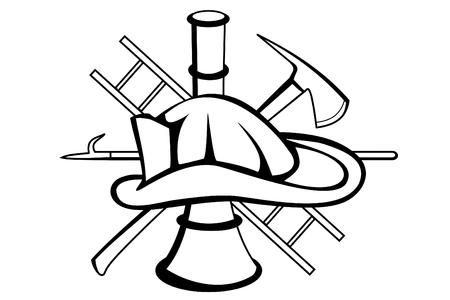 aesculapius: Un simbolo tatuaggio Firefighter Vettoriali