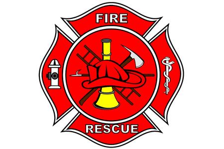 aesculapius: Un bombero de parches con s�mbolos Vectores