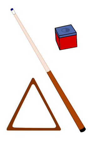 A Cue Stick with chalk and rack