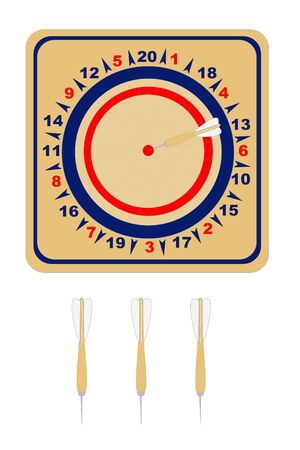 A American wooden dartboard with darts Иллюстрация