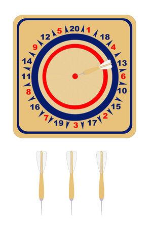 A American wooden dartboard with darts Ilustração