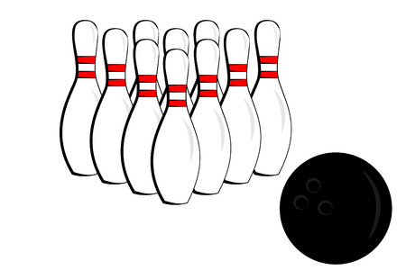 spare: A bowling pin and ball Illustration