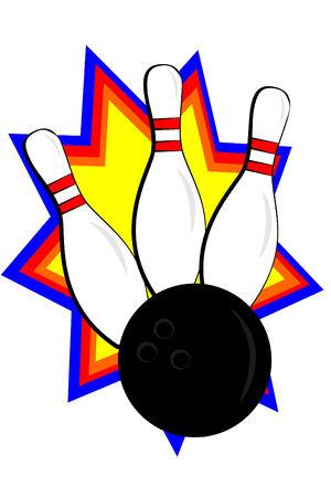 A bowling ball striking pins