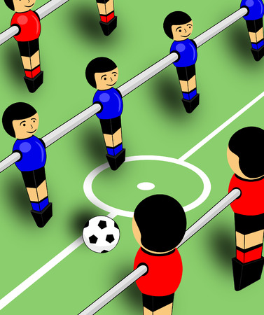 foosball: Red and blue men foosball game