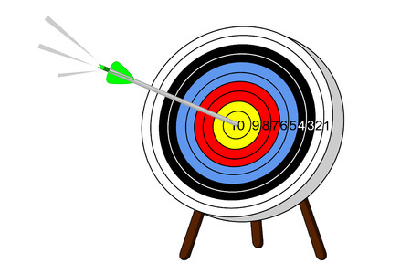 A arrow hits the bullseye on a target