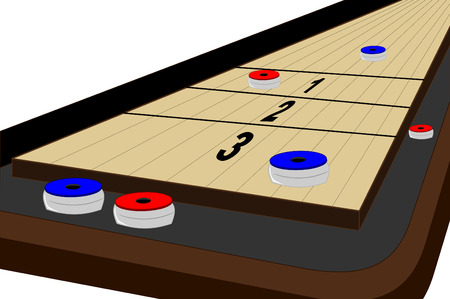 A shuffleboard table with pucks