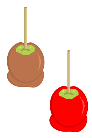 carmel and candy apples with sticks