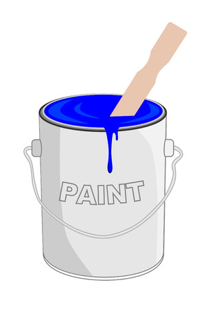 Blue paint in can with stirrer Stok Fotoğraf - 4163470