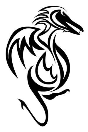 Een draak tribal tattoo Stock Illustratie