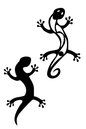 Pair of black tribal gecko tattoos