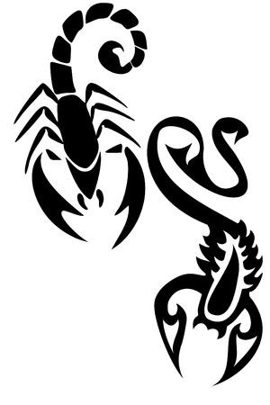 Par de escorpión negro tatuajes tribales Foto de archivo - 4182735