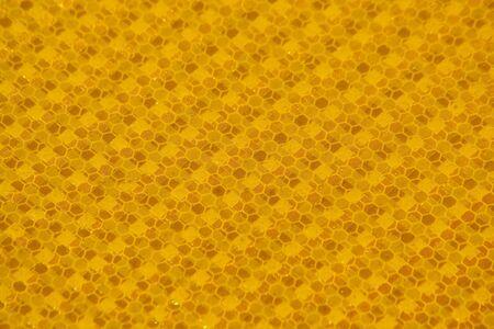 Yellow traffic sign macro background photo