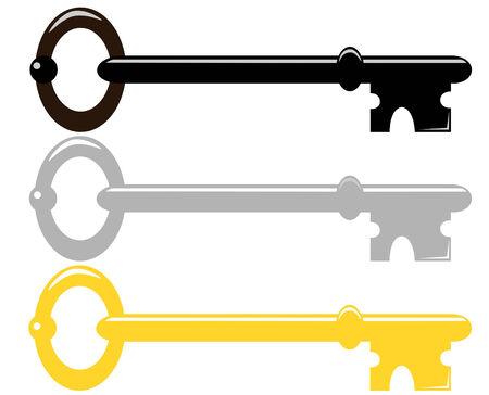 Set of three skeleton keys