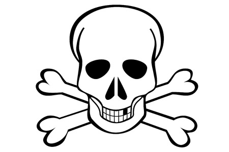 A Skull and crossbones on white background