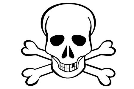 Een schedel en Crossbones op witte achtergrond
