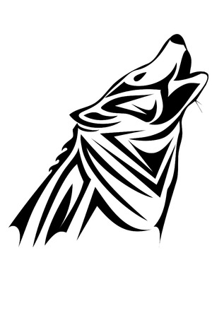 A tribal wolf tattoo in black