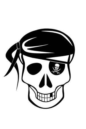 danger: A Pirate skull with eyepatch Illustration