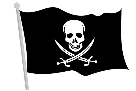 A Black pirate flag with pole Stock Vector - 4225185