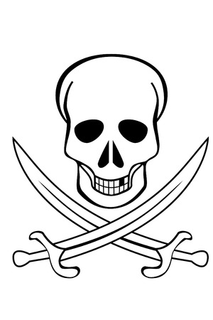 A Skull and crossed swords on white background