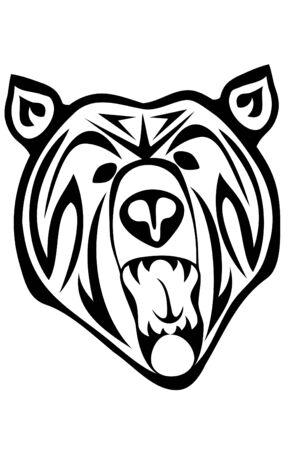 black: A tribal black bear tattoo Illustration