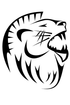 黒の部族ライオンをタトゥーします。 写真素材 - 4225194