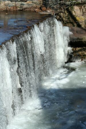 A waterfall with icicles