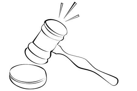 A black and white gavel
