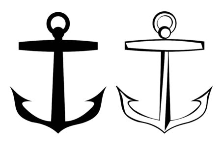 maritimo: Un ancla tatuaje tribal conjunto