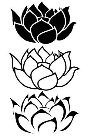 flor loto: una flor de loto tatuaje tribal conjunto